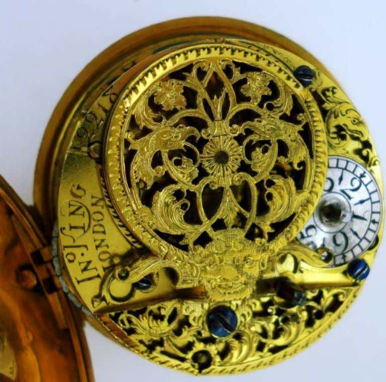 English Gold Repousse Pair Cased Watch with Verge Movement by John King of London 1730