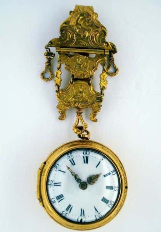 English Gold Repousse Pair Cased Watch with Verge Movement, Hook & Chain by James Leicester