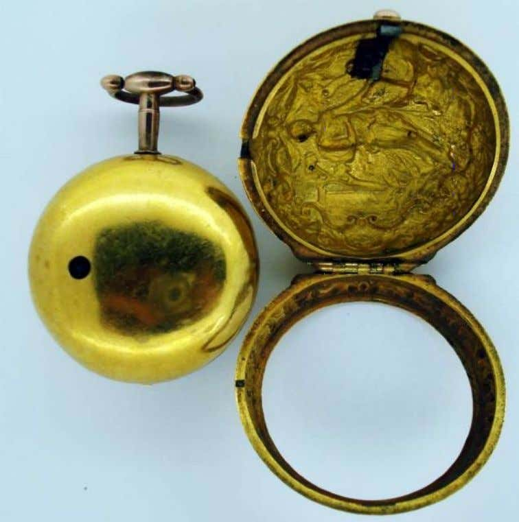 English Gold Repousse Pair Cased Watch with Verge Movement by Andrew Dunlop of London 1732