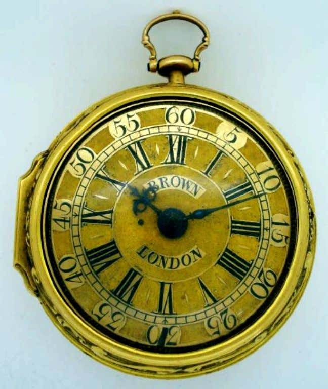 English Gold Pair Cased Repousse Watch with Verge Movement by John Brown of London c.