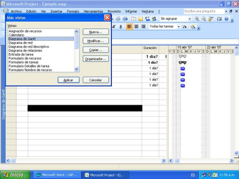 Manual Microsoft Project 2007 Cambiar de una vista a otra no modificará los datos, simplemente reemplazara
