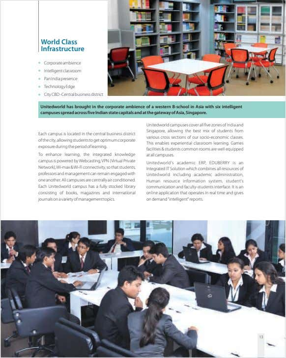 World Class Infrastructure Corporate ambience Intelligent classroom Pan India presence TechnologyEdge City CBD