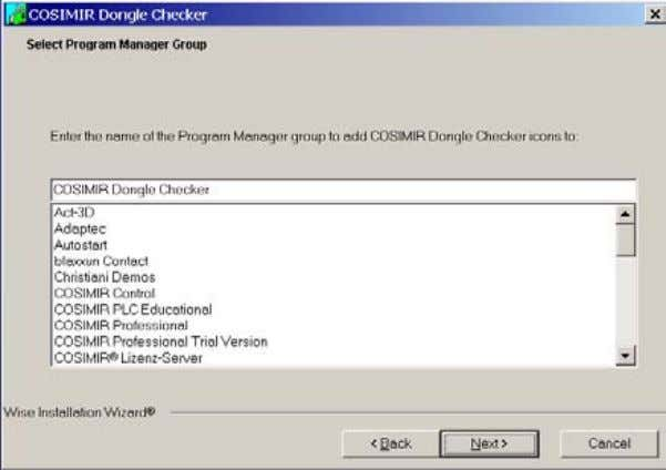 select the destination folder and the program manager group. Then follow the further installation guideline. 24