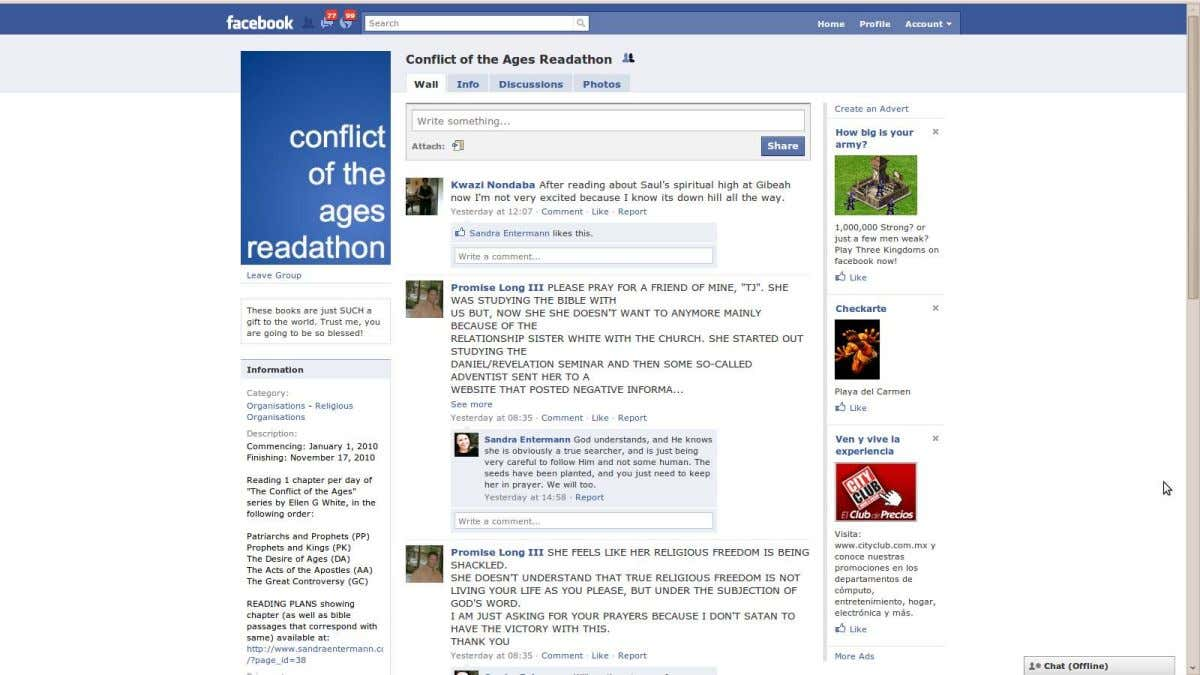 Evangelismo en la Web (Cont.) http://www.facebook.com/group.php?gid=168523185868&ref=ts#!/pages/Conflict-of-the-Ages-