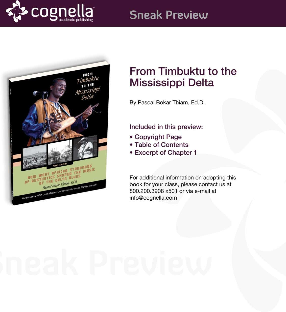 From Timbuktu to the Mississippi Delta By Pascal Bokar Thiam, Ed.D. Included in this preview: