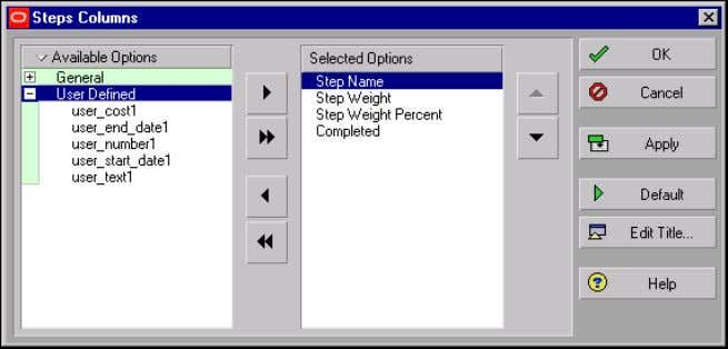 over the columns in the Steps tab, and choose Customize Steps Columns. Oracle Primavera P6 -
