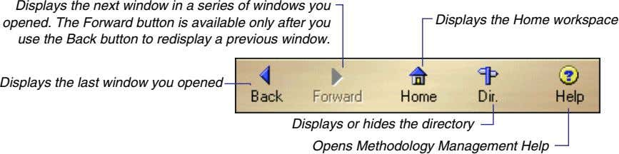 Displays the next window in a series of windows you opened. The Forward button is