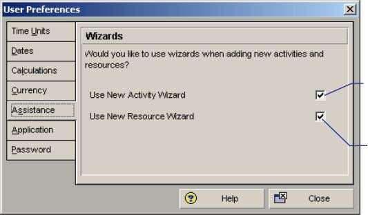 Choose Edit, User Preferences. Click the Assistance tab. Mark to use the New Activity Wizard. Mark
