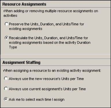 existing activity assignment with a different resource/role. Choose resource assignment defaults You can specify how to