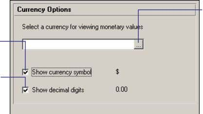 all cost data in the currency selected in User Preferences. Mark to include the symbol used
