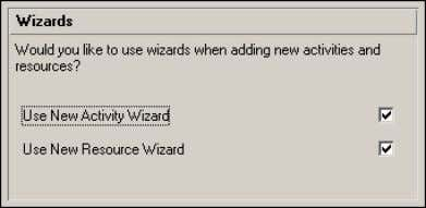 the use of wizards when adding resources and activities. If you clear one or both checkboxes