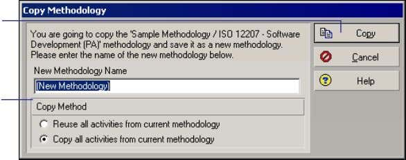 copy the methodology. Type the name of the new methodology. Reuse activities To copy activities and