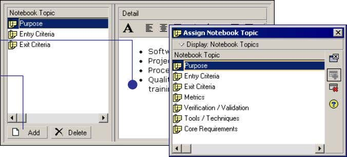 Notebook Topic dialog box and click the Assign button. In description fields, you can use HTML