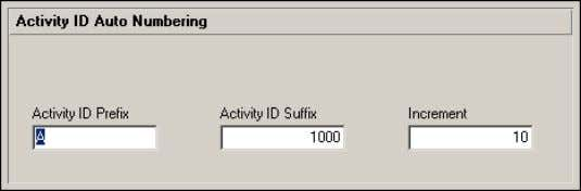 want the module to create activity IDs for new activities. Auto-Numbering Activity IDs When you create