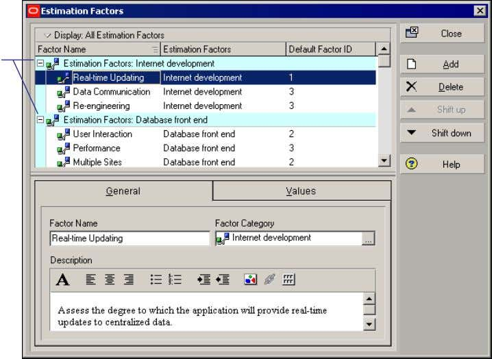 categories, see Primavera's Administrator's Guide . Factor categories enable you to organize factors for a