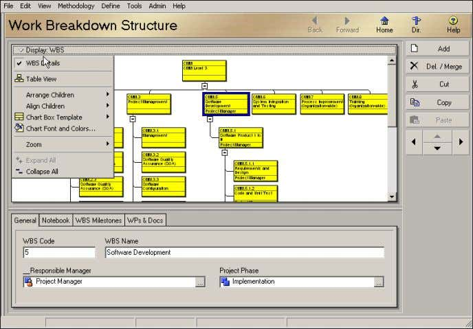 symbol ( ) in the column label indicates a list display. View the Work Breakdown Structure