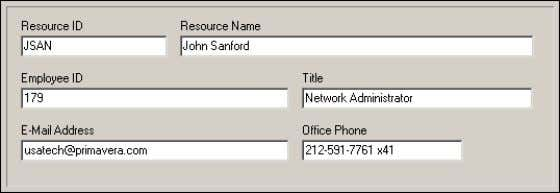 office phone number. The employee identifier corresponding to the resource Oracle Primavera P6 - Methodology Management