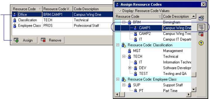 Click Assign to select the resource code value for the selected resource. Oracle Primavera P6 -