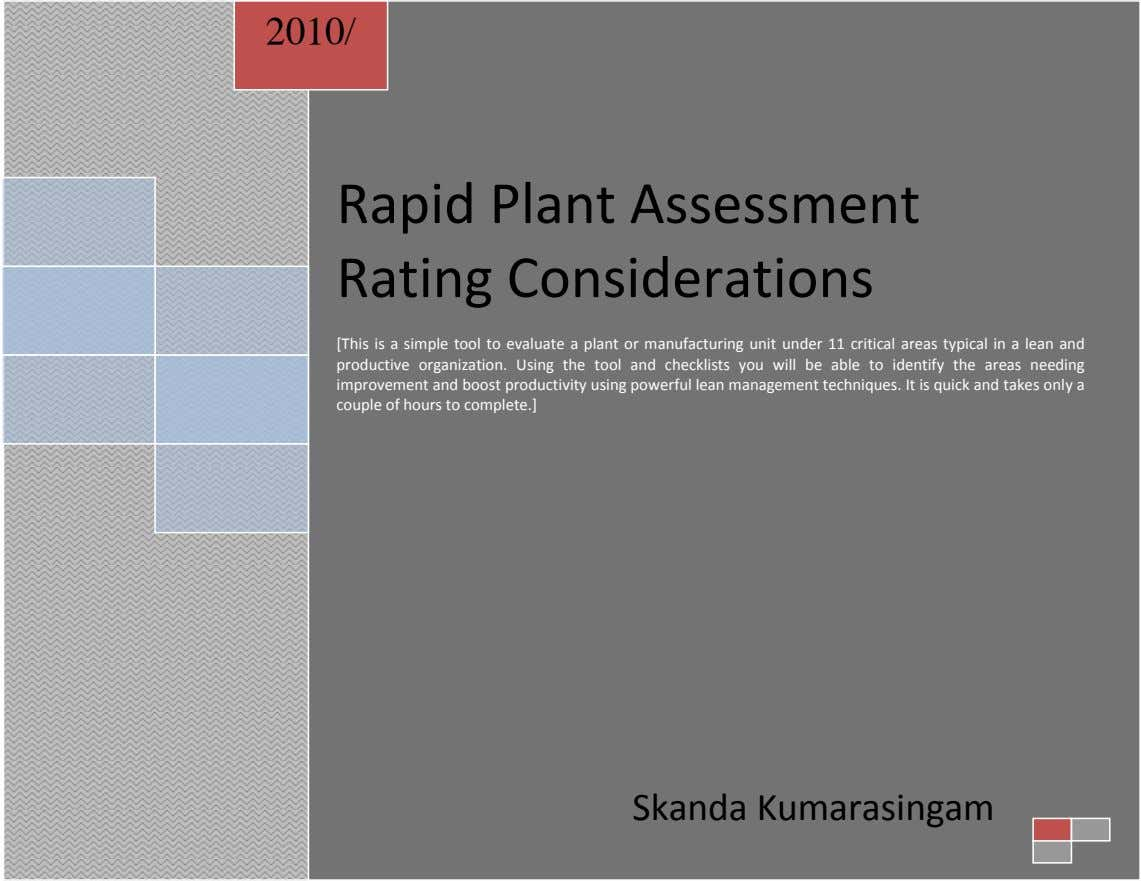 2010/ Rapid Plant Assessment Rating Considerations [This is a simple tool to evaluate a plant