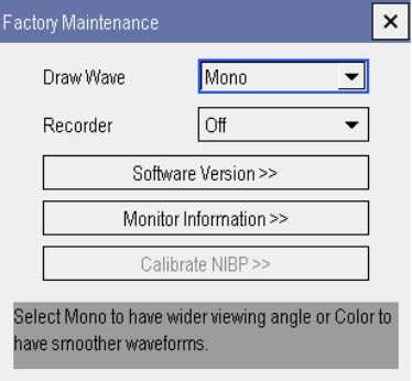 password. The [ Factory Maintenance ] menu is shown below. 3.10.2 Drawing Waves There are two