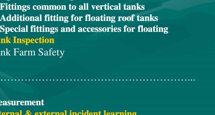& Assembly of Tank Tank Fittings - Operational fitting - Fittings common to all vertical tanks