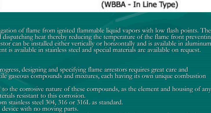 FlameFlame ArrestorArrestor IntroductionIntroduction FlameFlame arrestorarrestor isis designeddesigned toto stopstop