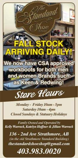 FALL STOCK ARRIVING DAILY! We now have CSA approved workboots for both men and women