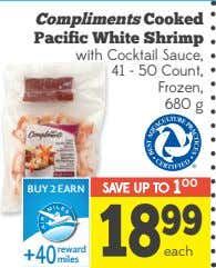 Compliments Cooked Pacific White Shrimp with Cocktail Sauce, 41 - 50 Count, Frozen, 680 g