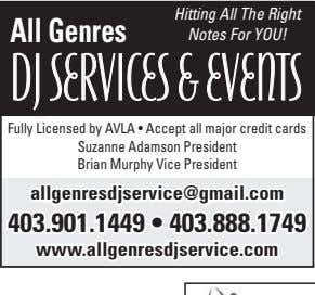 All Genres Hitting All The Right Notes For YOU! DJ SERVICES & EVENTS Fully Licensed