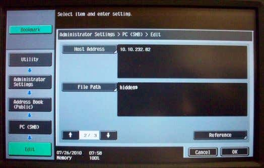 Scan to SMB to a Sub-Folder Scan to SMB to a Hidden Share 108 | P