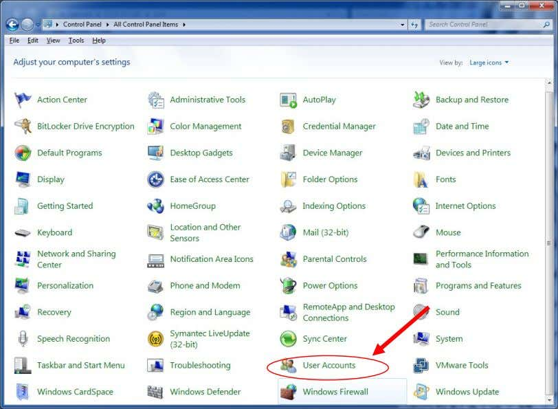 the available Users. 1. Go into Control Panel. 2. Select User Accounts Vista Ultimate Windows 7