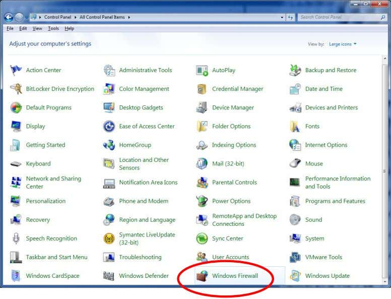 1. Go into Control Panel 2. Select Windows Firewall Windows Vista Ultimate Windows 7 Ultimate •