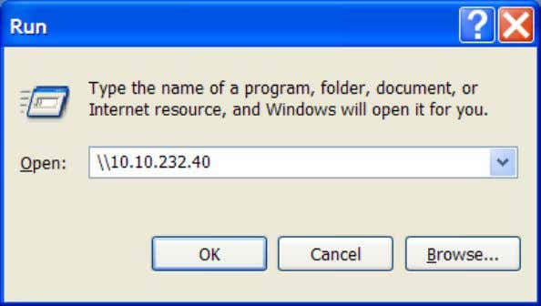 computer open a RUN prompt and type in: \\10.10.232.40 4. If you get prompted enter the