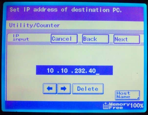 9. Enter the IP Address of the computer you are scanning too. 10. Enter the folder