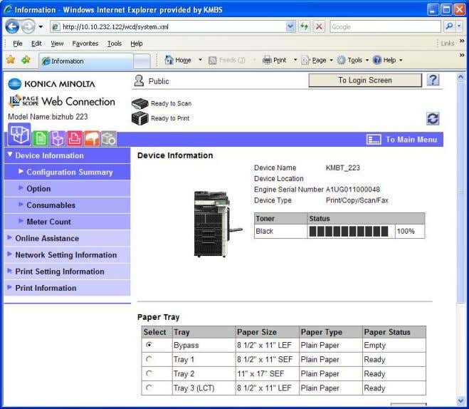 1. Open a Web Browser and type in the IP Address of the MFP 2. Log
