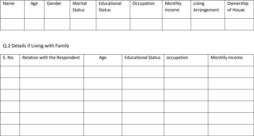 Name Age Gender Marital Educational Occupation Monthly Living Ownership Status Status Income Arrangement of House Q.2