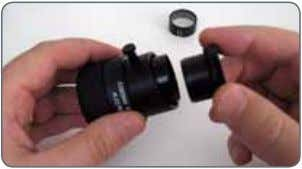 into the eyepieces. 1. Screw the insert off of the eyepiece. 2. Clamp the graticule on