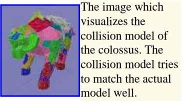 The image which visualizes the collision model of the colossus. The collision model tries to