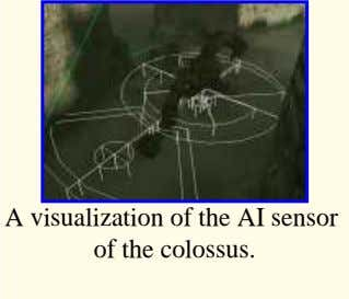 A visualization of the AI sensor of the colossus.