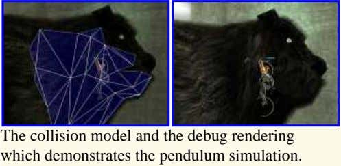 The collision model and the debug rendering which demonstrates the pendulum simulation.