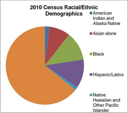 2010 Census Racial/Ethnic Demographics American Indian and Alaska Native Asian alone Black Hispanic/Latino Native