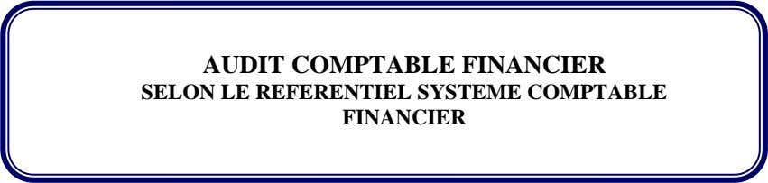 AUDIT COMPTABLE FINANCIER SELON LE REFERENTIEL SYSTEME COMPTABLE FINANCIER