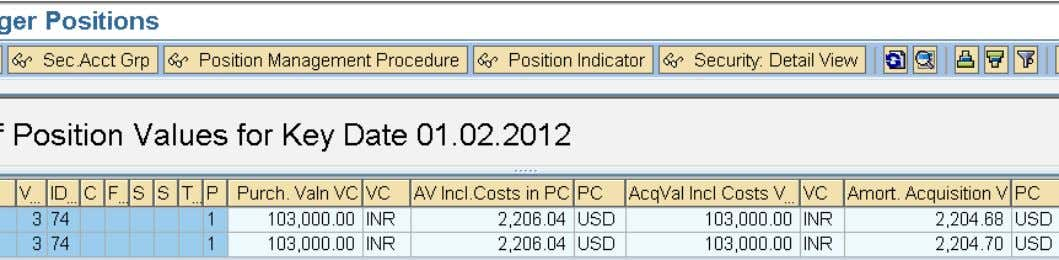 Display the Position List after Issue Currency Changeover and Nominal Adjustment. Execute TPM 12 Update Execute
