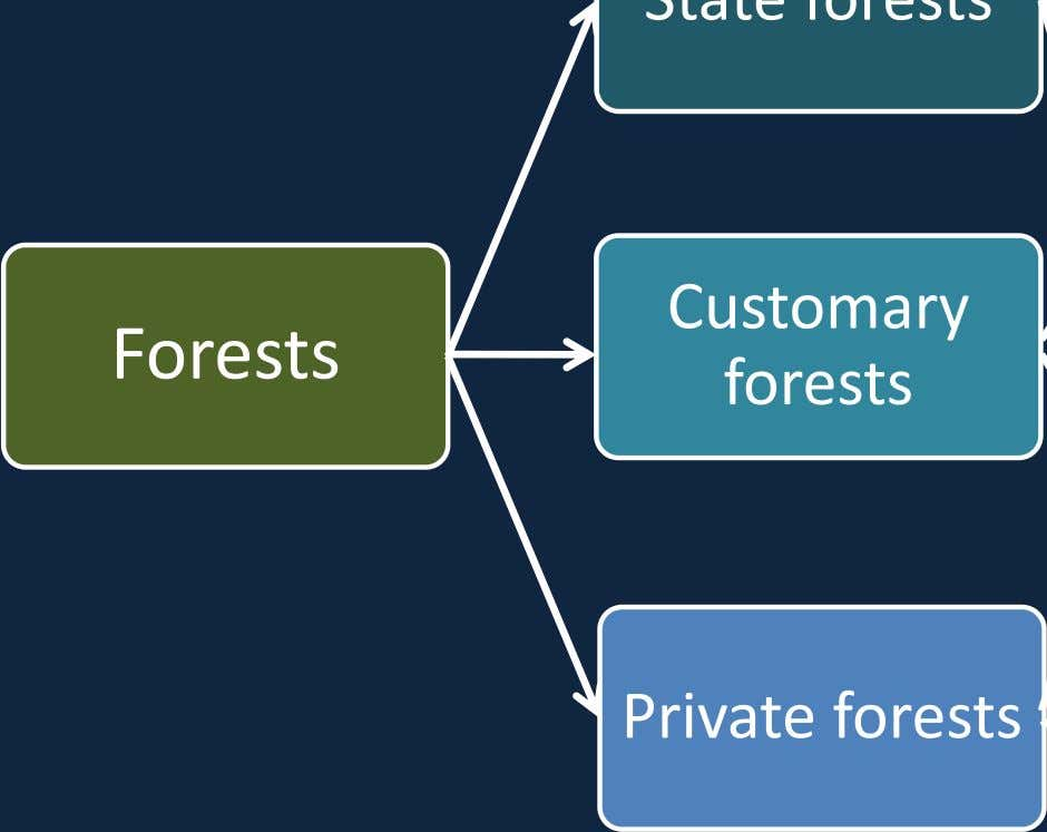 Customary Forests forests Private forests