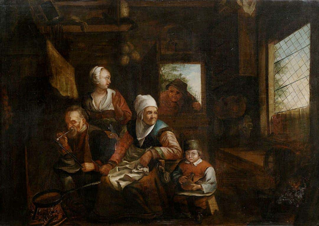 Peasant Family in the Kitchen In the style of David III Ryckaert (1612-1661) Likely 17th
