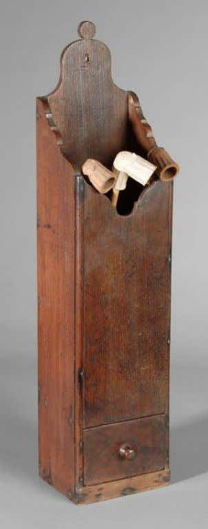American Pine Pipe Box in Red Paint Likely from Massachusetts Late 18th Century (Brunk Auctions)