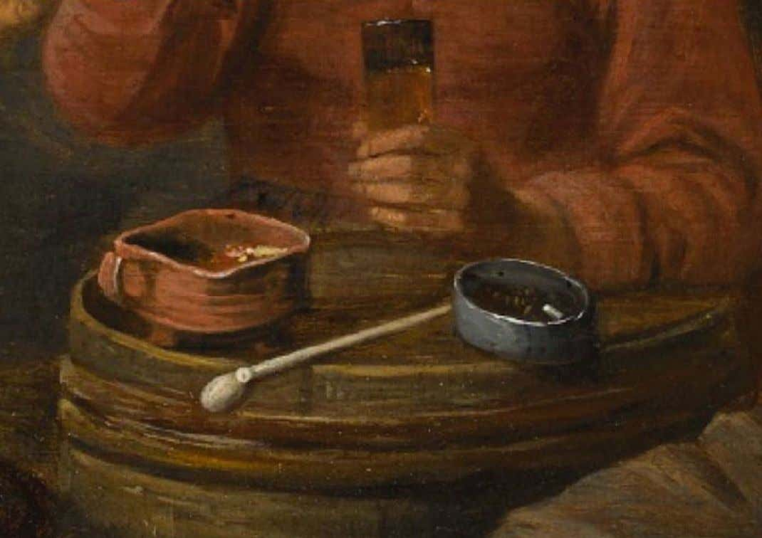 Detail of a Cinder Bowl - Figures Smoking in an Inn by a Follower of