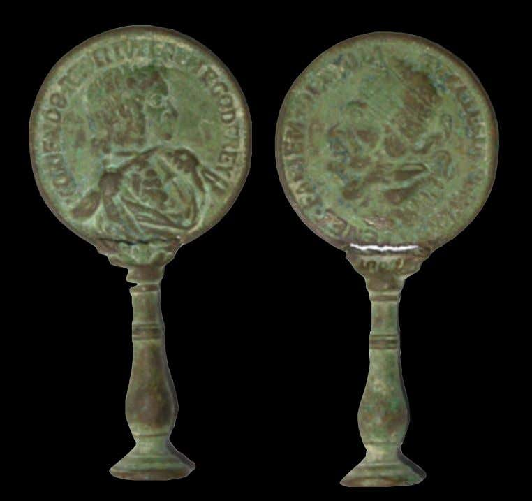 Berkshire Copper Alloy Pipe Tamper with Anti-Papist Medallion 17th Century (Private Collection - Portable Antiques
