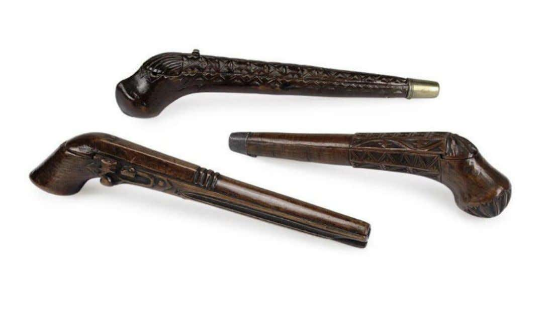 English or Dutch Fruitwood and Fruitwood & Brass Pipe Cases Early 18th Century (Christie's)