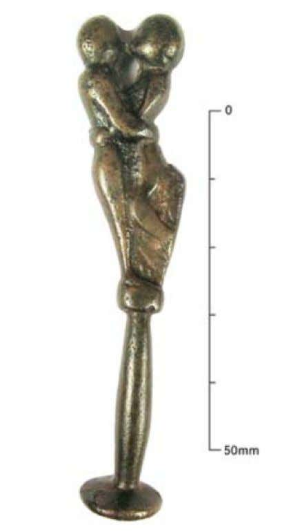 English Copper Alloy Pipe Tamper of Two Nude Figures Engaged in Coitus - From Ambleside,